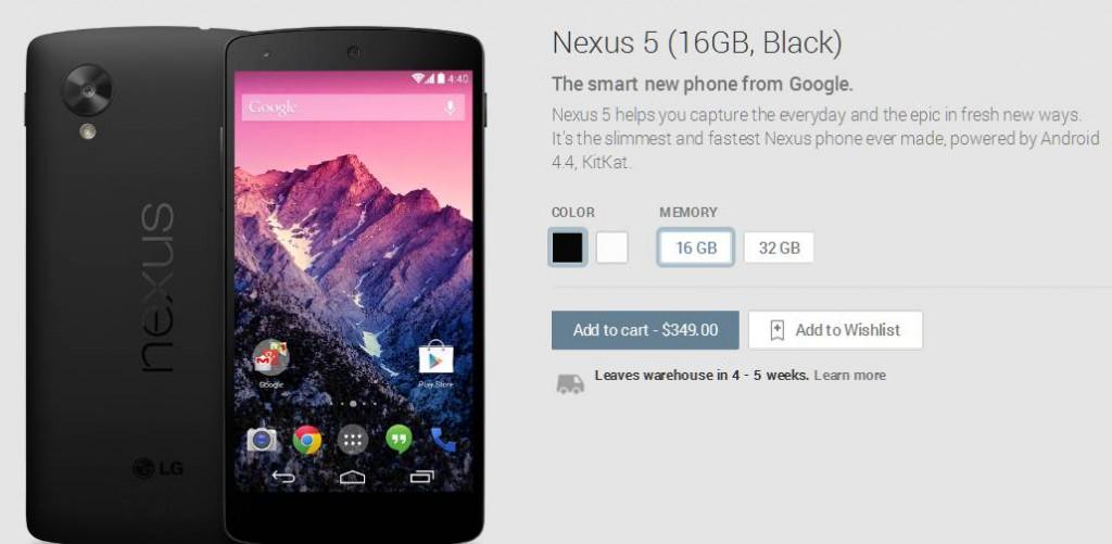Google Nexus 5 not available