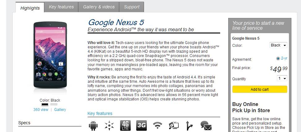 Buy Nexus 5 at Sprint